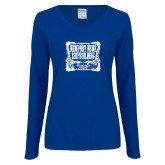 Ladies Royal Long Sleeve V Neck Tee-NNS Vintage