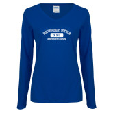 Ladies Royal Long Sleeve V Neck Tee-NNS College Design