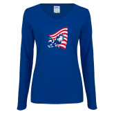 Ladies Royal Long Sleeve V Neck Tee-NNS Flag