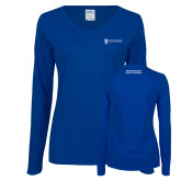 Ladies Royal Long Sleeve V Neck Tee-Manufacturing and Material Distribution