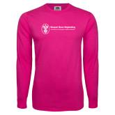 Hot Pink Long Sleeve T Shirt-Newport News Shipbuilding