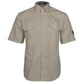 Khaki Short Sleeve Performance Fishing Shirt-Newport News Shipbuilding