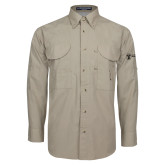 Khaki Long Sleeve Performance Fishing Shirt-Newport News Shipbuilding