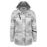 Ladies White Brushstroke Print Insulated Jacket-Newport News Shipbuilding