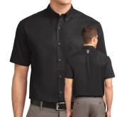 Black Twill Button Down Short Sleeve-Icon