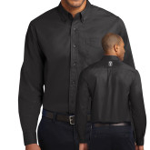 Black Twill Button Down Long Sleeve-Icon