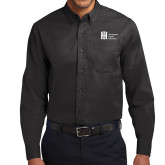 Black Twill Button Down Long Sleeve-Huntington Ingalls Industries