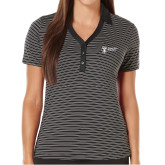 Ladies Callaway Core Stripe Black/White Polo-Newport News Shipbuilding