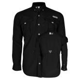 Columbia Bahama II Black Long Sleeve Shirt-Huntington Ingalls Industries