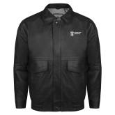 Black Leather Bomber Jacket-Newport News Shipbuilding