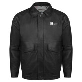 Black Leather Bomber Jacket-Huntington Ingalls Industries