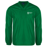 V Neck Kelly Green Raglan Windshirt-Newport News Shipbuilding