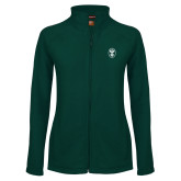 Ladies Fleece Full Zip Dark Green Jacket-Icon