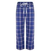 Royal/White Flannel Pajama Pant-Newport News Shipbuilding