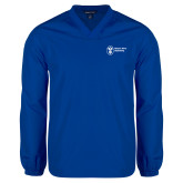V Neck Royal Raglan Windshirt-Newport News Shipbuilding