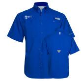 Columbia Tamiami Performance Royal Short Sleeve Shirt-Newport News Shipbuilding