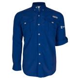Columbia Bahama II Royal Long Sleeve Shirt-Newport News Shipbuilding