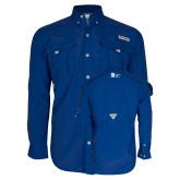 Columbia Bahama II Royal Long Sleeve Shirt-Huntington Ingalls Industries