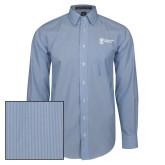 Mens French Blue/White Striped Long Sleeve Shirt-Newport News Shipbuilding