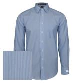 Mens French Blue/White Striped Long Sleeve Shirt-Huntington Ingalls Industries