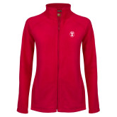 Ladies Fleece Full Zip Red Jacket-Icon
