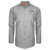 Red Kap Light Grey Long Sleeve Industrial Work Shirt-Newport News Shipbuilding