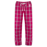 Ladies Dark Fuchsia/White Flannel Pajama Pant-Icon