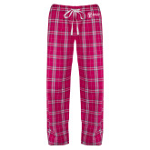 Ladies Dark Fuchsia/White Flannel Pajama Pant-Newport News Shipbuilding