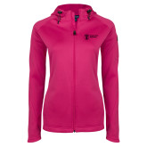 Ladies Tech Fleece Full Zip Hot Pink Hooded Jacket-Newport News Shipbuilding