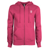 ENZA Ladies Fuchsia Fleece Full Zip Hoodie-Icon
