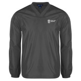 V Neck Charcoal Raglan Windshirt-Newport News Shipbuilding