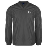 V Neck Charcoal Raglan Windshirt-Huntington Ingalls Industries
