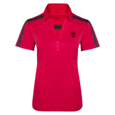 Ladies Raspberry/Charcoal Performance Color Block Polo-Icon