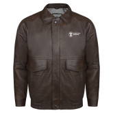 Brown Leather Bomber Jacket-Newport News Shipbuilding