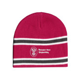 Pink/Charcoal/White Striped Knit Beanie-Newport News Shipbuilding