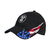 Black US Flag Flame Cotton Twill Structured Hat-Icon