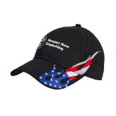 Black US Flag Flame Cotton Twill Structured Hat-Newport News Shipbuilding
