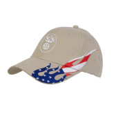 Khaki US Flag Flame Cotton Twill Structured Hat-Icon