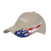 Khaki US Flag Flame Cotton Twill Structured Hat-Newport News Shipbuilding
