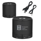 Wireless HD Bluetooth Black Round Speaker-Huntington Ingalls Industries Engraved