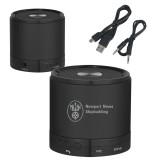 Wireless HD Bluetooth Black Round Speaker-Newport News Shipbuilding Engraved