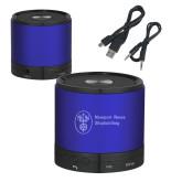 Wireless HD Bluetooth Blue Round Speaker-Newport News Shipbuilding Engraved
