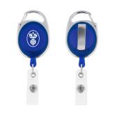 Blue Oval Retractable Badge Holder w/Clip-Icon