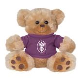 Plush Big Paw 8 1/2 inch Brown Bear w/Purple Shirt-Icon