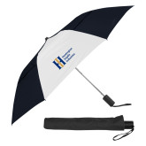 42 Inch Slim Stick Black/White Vented Umbrella-Huntington Ingalls Industries