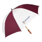 62 Inch Maroon/White Vented Umbrella-Newport News Shipbuilding