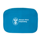 Large Aqua Waffle Cosmetic Bag-Newport News Shipbuilding