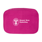 Large Hot Pink Waffle Cosmetic Bag-Newport News Shipbuilding