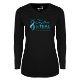 Ladies Syntrel Performance Black Longsleeve Shirt-Primary Mark Stacked