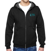 Black Fleece Full Zip Hoodie-Primary Mark Stacked